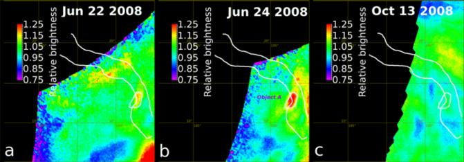 Cambios de brillo en la región de Ganiki Chasma. / E. Shalygin et al (2015)