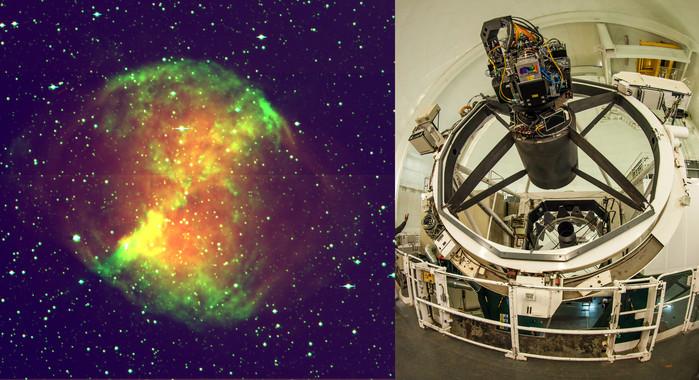 La cámara PAU instalada en el telescopio William Herschel (a la derecha) ya ha captado imágenes como esta de Nébula M2700. / IFAE