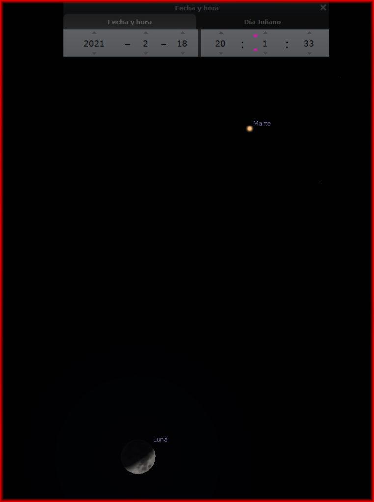 Conjunción Luna-Marte 18 marzo 2021